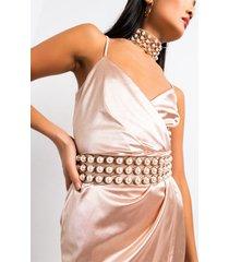 akira expensive taste pearl detail belt