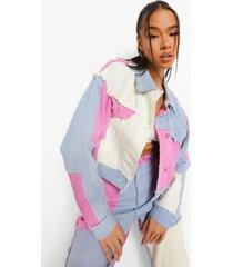 korte colour block spijkerjas met patches, bright lilac