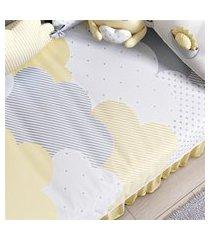 edredom bebê nuvem de algodáo amarelo gráo de gente amarelo