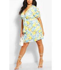 plus puff sleeve knot dress, yellow