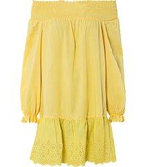abito con spalle scoperte e ricamo traforato (giallo) - bodyflirt