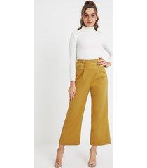 yoins pantalón de cintura alta amarillo cruzado