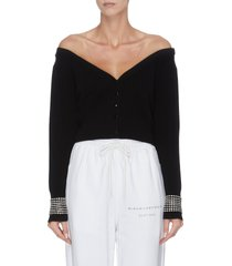 x lane crawford 'crystal cuff' sheer panel cardigan