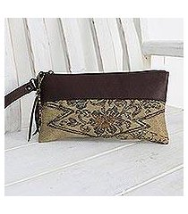 leather accent silk wristlet, 'flower of chiang mai' (thailand)