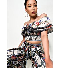 akira floral all the way off shoulder top
