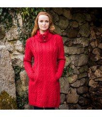 the dunloe aran coat red xl