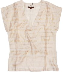 7 for all mankind women's short sleeve crossover blouse, peach