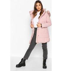 faux fur trim quilted detail parka coat, blush