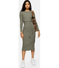 khaki belted midi dress - khaki