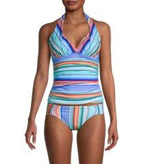 la blanca women's sunset striped halter tankini top - size 4