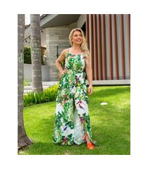 vestido miss misses longo com estampa tropical verde