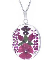 "medium oval dried flower medal pendant with 18"" chain in sterling silver. available in multi, purple or red"