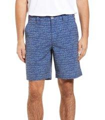 men's southern tide men's t3 gulf fish print performance shorts, size 34 - blue