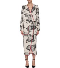 'lobb' tiger pattern long sleeve fil coupé wrap dress