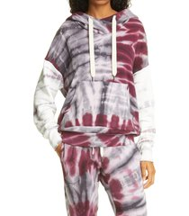 women's nsf clothing lissete tie dye pullover hoodie, size small - purple