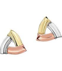 14k tri-tone gold triangle stud earrings