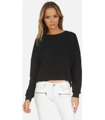 travis core crop pullover - black l