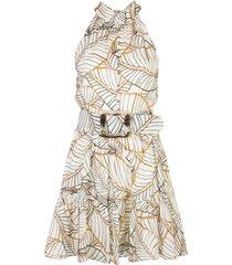 nicholas vestido selima com estampa de folhagens - branco