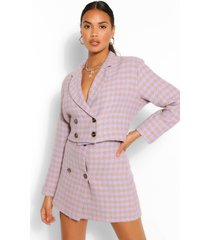 double breasted dogstooth crop jacket, lilac