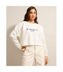 """blusão amplo de moletom com bordado kindness"""" decote redondo off white"""""""