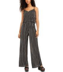 be bop juniors' striped wide-leg jumpsuit