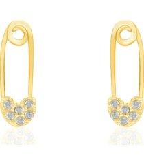 orecchini spilla da balia in oro giallo e zirconi per donna