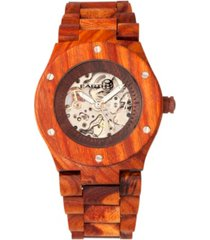 earth wood grand mesa automatic skeleton wood bracelet watch red 44mm