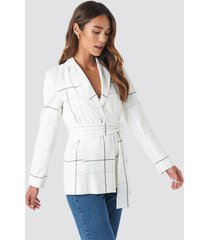 trendyol yol checkered blazer - white