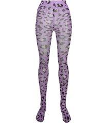 philipp plein leopard print tights - purple