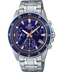 reloj casio efv_540d_2av plateado acero inoxidable