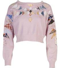 lavender patchwork sweatshirt