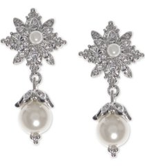 marchesa silver-tone pave & imitation pearl drop earrings