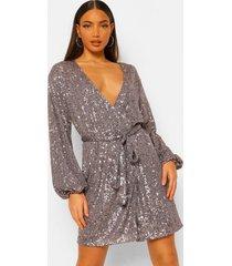 tall jurk met ceintuur en pailletten, grijs