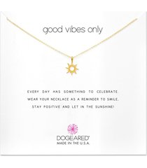 dogeared good vibes only radiant sun necklace gold stone