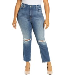 good american good legs ripped high waist ankle skinny cigarette jeans, size 15 in blue673 at nordstrom