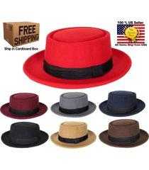 porkpie pork pie fedora upturn wide brim cotton blend felt hat