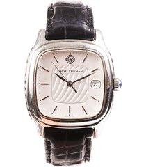 david yurman thoroughbred crocodile watch black sz: