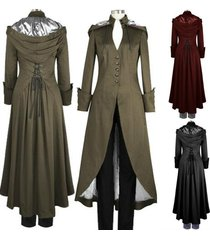victorian double cape coat gothic black steampunk victorian trench coat with hoo