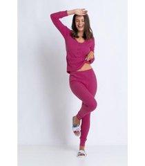 conjunto de pijama acuo longo canelado de algodão feminino