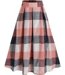 plaid print pleated midi skirt