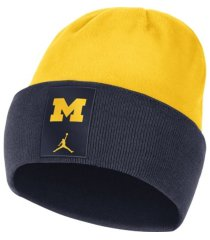 jordan michigan wolverines sideline fleece beanie knit