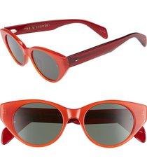 women's rag & bone 49mm cat eye sunglasses - red