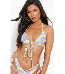 driehoekige bikini top met bandjes en opruk, lilac