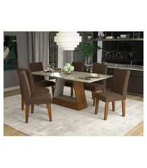 conjunto de mesa de jantar retangular alana com vidro e 6 cadeiras milena suede chocolate e off white
