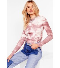 womens keep a tie dye out ruched crop top - mauve