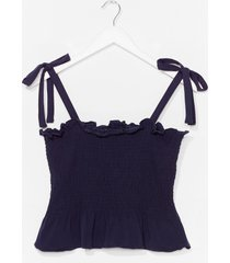 womens shirred does tie cami top - navy