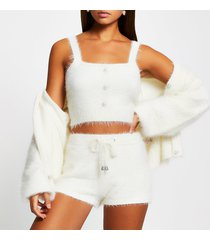 river island womens white fluffy button detail cami top
