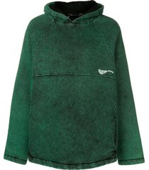martine rose faded jersey hoodie - green