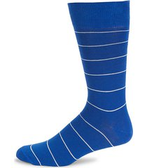 pinstriped cotton-blend socks
