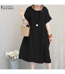 zanzea partido de las mujeres vestido de tirantes de algodón de verano oficina de trabajo de la llamarada suelta más el tamaño de vestido de midi -negro